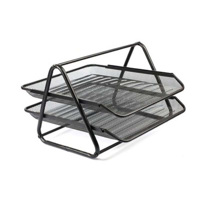 2 TIERS OFFICE FILE TRAYS HOLDER A4 DOCUMENT LETTER PAPER WIRE MESH STORAGE FILE TRAY